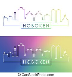Hoboken skyline. Colorful linear style.