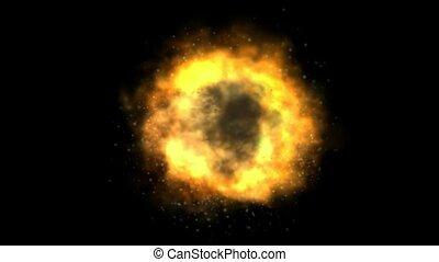 hoch, definition, bombe, explosion
