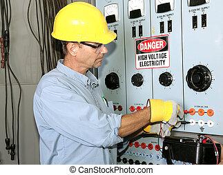 hoch, elektriker, spannung