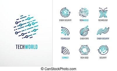 hoch, fintech, technologie, heiligenbilder, sammlung, symbole, technologie, logos., biotechnologie