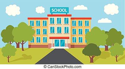 hoch, gebäude, schule, vektor, abbildung