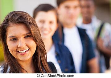 hoch, jugendlich, friends, schule- mädchen