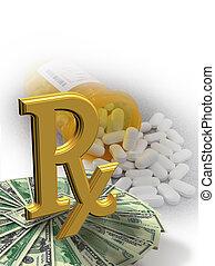hoch, medizinprodukt, symbol, kosten
