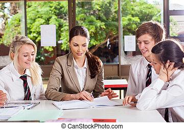 hoch, portion, schule, studenten, lehrer