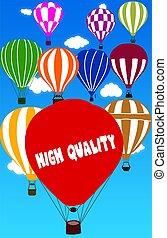 hoch, qualität, geschrieben, auf, heiãÿluftballon, mit, a, blauer himmel, hintergrund.