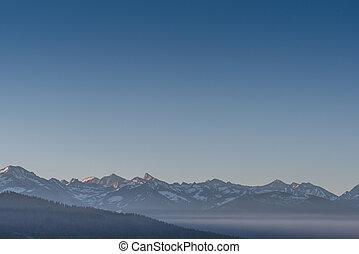 hoch, sierras, mit, hellblau, himmelsgewölbe