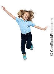 hoch, springt, energisch, junges kind