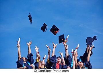 hoch, studenten, schule, promoviert