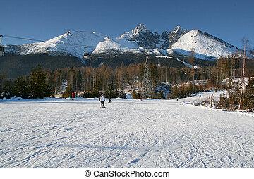 hoch, tatras, ski fahrend
