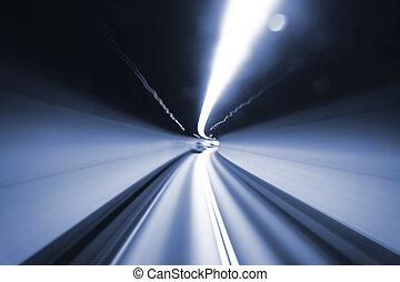 hoch, tunnel, geschwindigkeit, verwischen