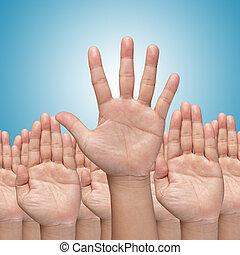 hoch, Viele, Hände, aufziehen, Auf