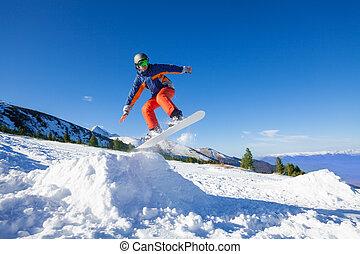 hoch, winter, springende , snowboarder, hügel