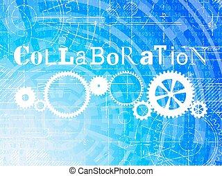 hoch, zusammenarbeit, technologie, hintergrund