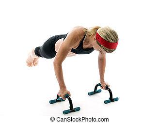hochdrücken, fitness, stäbe, frau, trainieren