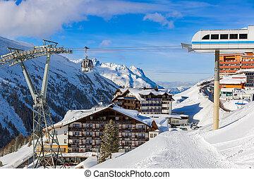 hochgurgl, montaña, austria, recurso esquí