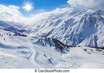 hochgurgl, montanha, áustria, refúgio esqui