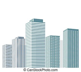 Hochhaus Stadt.eps - Cityscape with high houses Illustration