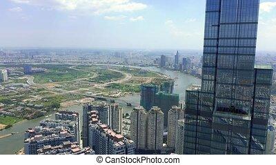 hochiminh, abril, hochiminh., 2020:, zángano, céntrico, vista, rascacielos, vietnam, aéreo, otro, moderno, -, edificios