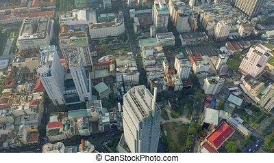 hochiminh, vista, 2020:, aéreo, moderno, zángano, vietnam, abril, -, céntrico, hochiminh., edificios