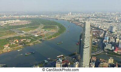 hochiminh, vista, 2020:, aéreo, zángano, vietnam, central, bitexco, área, abril, -, financiero, torre, hochiminh.
