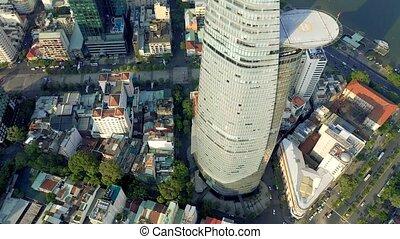 hochiminh, vista, panorama, 2020:, empresa / negocio, aéreo, vietnam, bitexco, centro, abril, -, hochiminh.