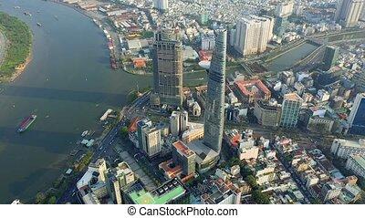 hochiminh, vista, panorama, 2020:, empresa / negocio, aéreo, vietnam, bitexco, centro, abril, -, cityscape, hochiminh.