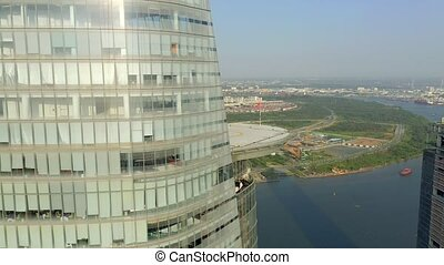 hochiminh, vista, panorama, 2020:, empresa / negocio, aéreo, vietnam, bitexco, centro, abril, helipad, -, hochiminh.