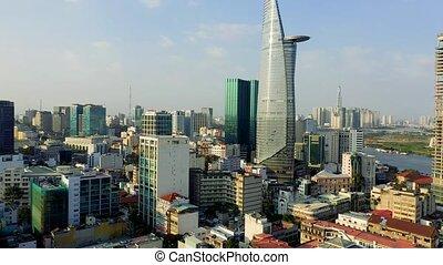 hochiminh, vista, panorama, otro, 2020:, empresa / negocio, vietnam, bitexco, centro, abril, -, downtown., aéreo, edificios