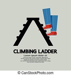 hochklettern, beine, ladder.