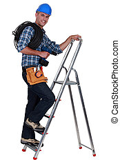 hochklettern, elektriker, ladder.