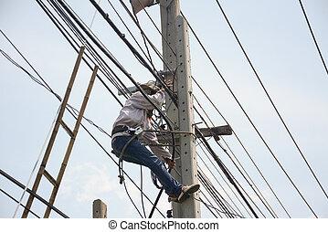 hochklettern, elektriker, streckenarbeiter