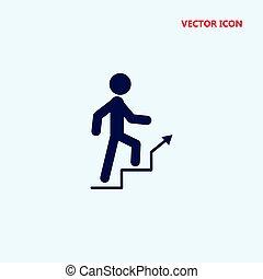 hochklettern, vektor, treppe, mann, ikone