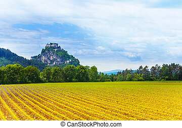 Hochosterwitz castle and cultural fields in Austria