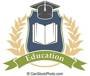 hochschulbildung, emblem, ikone, universität