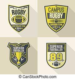 hochschule, embleme, rugby, mannschaft