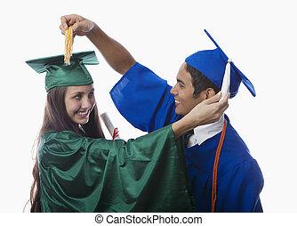hochschule, promoviert, in, kappe kleid