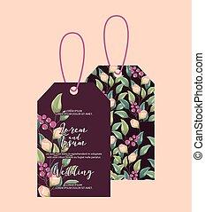 hochzeitsblumen, etikett, blumen dekoration