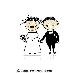 hochzeitsfeier, -, braut bräutigam, zusammen, für, dein,...