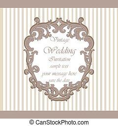 Klassisch Verzierung Einladung Koniglich Wedding Karte Blaues