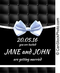 Card Wedding Schleife Vektor Schwarz Einladung Weisses