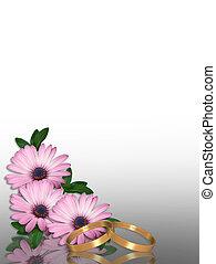 hochzeitskarten, lila, gänseblümchen