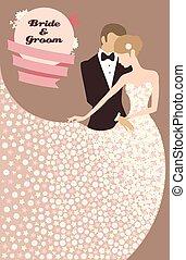 hochzeitskarten, mit, braut bräutigam