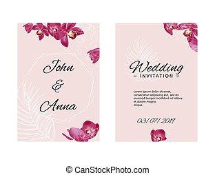 hochzeitskarten, schablone, mit, orchideen, und, weißes, skizze, elements., vektor, rosa, illustration.