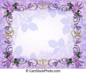 hochzeitskarten, umrandungen, lavendel, rosen