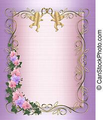hochzeitskarten, umrandungen, orchideen, efeu