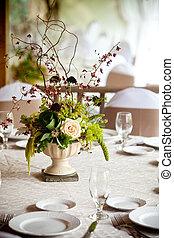 hochzeitstafel, dekoration, reihe