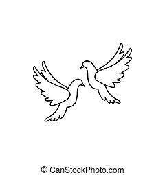 Weisse Hochzeit Tauben Ikone Stil Einfache Freigestellt