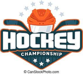 Hockey logo. Sport badge Vector illustration