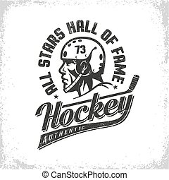 Hockey black and white retro logo