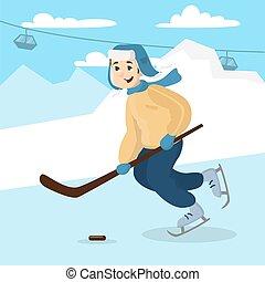 hockey., chłopiec, interpretacja